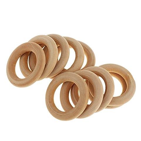 Generic 10pcs Unbehandelten Holz Lose Perlen DIY Armband Halskette Zubehör Papasliebchen Holzring natur - 4cm