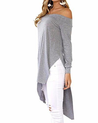 LANISEN Damen Langram Schulterfrei Einfarbig Asymmetrisch Shirt Blusen Oberteil S-XL Grau
