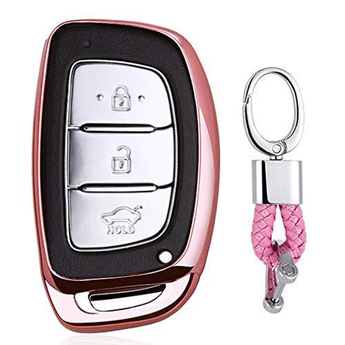 Rosado Funda de TPU Suave para Llave + Llavero para Coche Hyundai Sonata Elantra Tucson ix35 3/4 Button