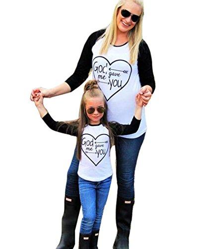 YOUJIA Mama und Kinder T-Shirts Raglan Ärmel Familienkleidung Outfits Tee Shirt Tops - Schwarz Weiß Schwarz Weiß