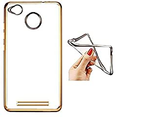 Perimum Ultra Thin Flexible Gold With Bumper Transparent Back Cover For Xiaomi Redmi 3S Prime