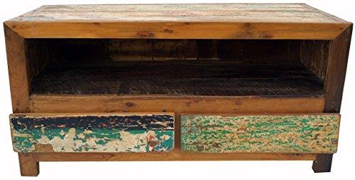 Guru-Shop Lowboard, Table TV, Commode Plate à Tiroirs, Look Vintage - Modèle 10, Marron, 54x110x46 cm, Commodes Meubles à Tiroirs Buffets