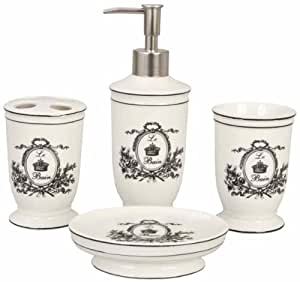 Ensemble 4 accessoires salle de bain romantique chic for Accessoires de salle de bain paris