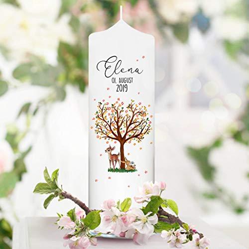 Wandtattoo Loft Taufkerze filigraner Baum mit Blüten, REH und Hase - Kerze zur Taufe, Geburt oder Kommunion - weiß 25 x 7 cm mit Name, Datum, ggf. Taufspruch / / Kerze 25x7 cm (ohne Taufspruch)