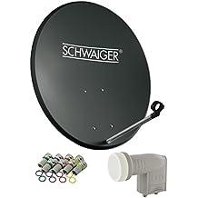 SCHWAIGER -487- Sat Anlage, Satellitenschüssel mit Twin LNB (digital) & 8 F-Steckern 7 mm, Sat Antenne aus Stahl, Anthrazit, 55 x 62 cm