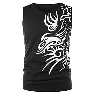 Anglewolf 100% Contton Men Fashion Printing Men's Long-Sleeved T-Shirt(Black 2,XXL)