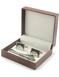 HYHAN Camisas de plata clip de corbata y la mancuerna Set - Encantos Accesorios para hombres + caja de regalo