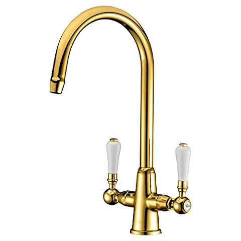 GICASA Traditional Classic Lead Free Kitchen Sink Taps, Monobloc Solid Brass Swivel Spout Twin Lever Golden Kitchen Mixer