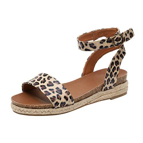 Dc Leder High Heels (Frauen Sommer Sandalen Wedges Leopard Casual Schuhe Strap Gladiator Roman Sandalen Schnalle Keile Leopard Retro Peep Toe Sandalen)