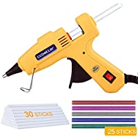 CCbetter Hot glue gun, 30W Mini Hot Melt Glue Gun Kit with 30pcs Transparent and 25pcs colors Glue Sticks High Temperature Energy Efficient for DIY Small Craft and Quick Repairs, Yellow