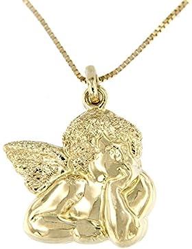 Lucchetta Damen-Halskette Schutzengel Engel 14 Karat 585 Gelbgold Anhänger 42cm