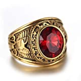 Quoouz Man's Eagle Titanium Steel Ring Soldier Ring Red Size 12