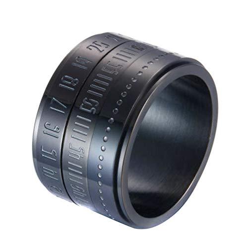 Amneria Retro Breite Drehbare Zahl Uhrzeit Beste Originalfarbe Stahlband Ring Kreis