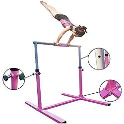 Seababyhouse 4ft Barres Gymnastique Asymétriques en Acier Bois Hauteur Réglable de 90cm à 140cm pour l'Ecole, Maison, Jardin, Zone d'Entraînement avec la Base Solide Kid Gym Training Bars
