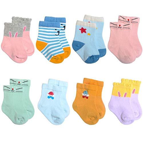 8 Paar Baby Socken Set Cartoon Jungen und Mädchen Low Toes Knöchel Baumwolle Stretch Matten verschiedene Farben Anti-Rutsch-Socken - Baumwoll-stretch Knöchel-socken