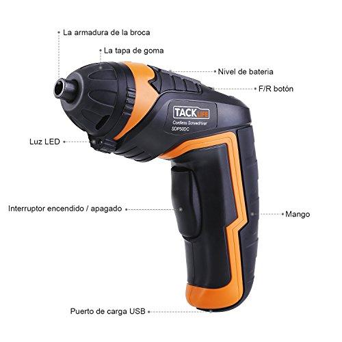 Tacklife SDP50DC Portátil Taladros Atornilladores  Avanzado Destornillador Eléctrico (Taladro sin Cable  LUZ LED  30 Brocas y 1 Biela  Bloqueo de Seguridad)