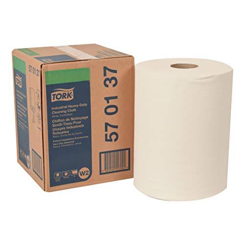 Tork 570137 Extra Starke Industrie Reinigungstücher für W1 Bodenständer/Wandhalter-, W2 Innenabrollung Maxi- und W3 System / 1-lagige Reinigungstücher Rolle in Weiß / Premium Qualität / 1 x 60,8 m -