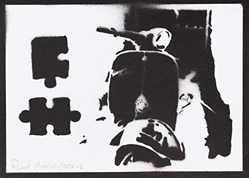 Poster Vespa Scooter Handmade Graffiti Street Art - Artwork