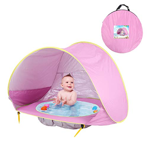 METTE Children es Beach Pool Zelt, Pop-up Beach & Outdoor Baby Tent, Protective & Portable Sun Shelter, Provides Baby Shade Pool for Your Toddler, Infant & Kid, Angebote SPF, UV, 50 + UPF,Pink