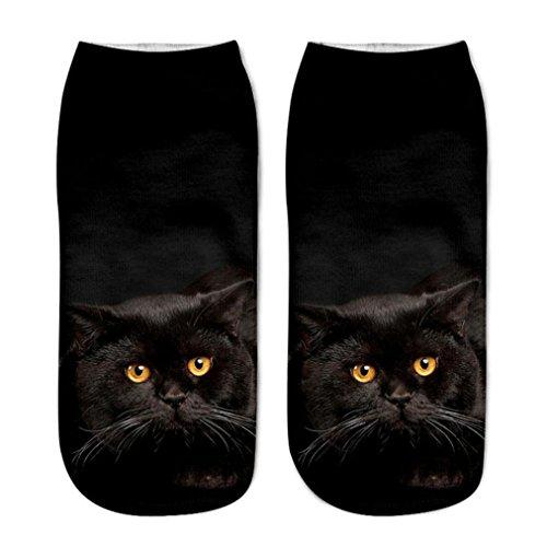 Muster Fußkettchen Socken (FORH Damen Herren Unisex kurze Socken Cute 3D Cartoon Katze Gedruckt Fußkettchen Socken Lustige Socken Casual Warm Sneaker Sportsocken antirutsch socken (F))