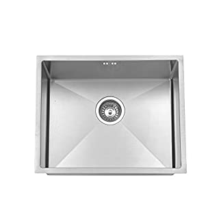 JASS Ferry Premium Handmade Design 1.2mm Thickness Undermount Square Stainless Steel Kitchen Sink 1.0 Single One Bowl no Tap Hole 540 X 440 mm - 10 Years Warranty