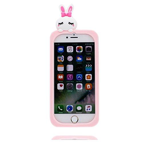 Custodia iPhone 7, Rainbow coniglio rosa 3D Cartoon | TPU Duarble iPhone 7 Case iPhone 7 copertura Cover 4.7 | Shell Skin Graffi Resistenti rosa 1