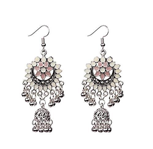 Ohrringe Ohrstecker Schmuck Indian Jhumka Gypsy Birdcage Blau Ohrringe Mit Blume Für Frauen Antique Silver Bells Damen Ohrringe Ägypten -