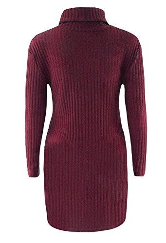 Maglie Donna Autunno Inverno Eleganti Maglione Vestito Collo Alto Lana Maglietta Dolcevita Moda Sweater Turtleneck Irregolare Maglione Abito di Maglia Maglieria Rosso