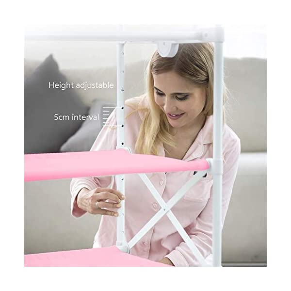 Changing Table Foldable Baby Diaper Changing Table,Movable Baby Changing Station with Safety Strap and Fence Baby Bath Table Dresser Unit Organizer (Color : Pink, Size : B) Changing Table ●Foldable changing table- Easily fold it if you finish all the tasks,With its space saving design, you can store it behind a door, it will make life a little easier for parents. ●Size and Safe and Stable- 80x 50 x 107cm,Suitable for babies weighing less than 25kg,With seat belt,Changing pad has a restraining strap for added safety and is made of easy to clean, soft ●2-in-1 design: Baby changing table can be used as baby massaging table as well. It is designed at the proper height of parent to prevent mom's back aches and pains from kneeling or bending when changing diapers to babies. 6