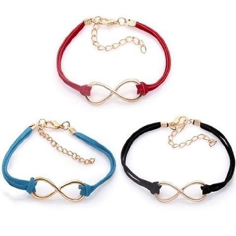 SODIAL(R) des bijoux Bracelet Femme en Alliage Lot de Bracelet Infini Cordon Noir, rouge et bleu