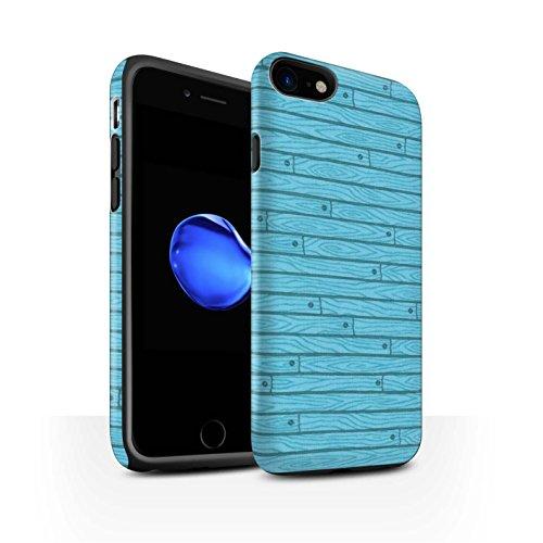 STUFF4 Matte Harten Stoßfest Hülle / Case für Apple iPhone 8 / Beige Muster / Holz-Muster Kollektion Türkis