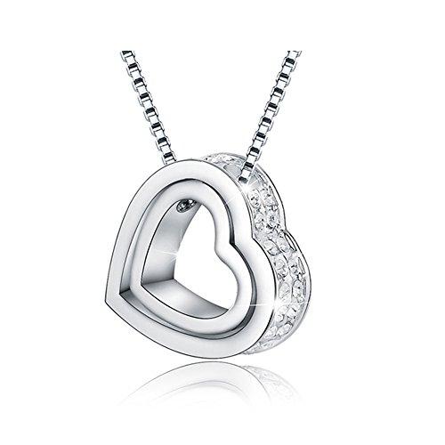 Jewelry Forever Double Love Herz in Herzform Anhänger Halskette LIEBE DIR IMMER White Crystals Halskette Weißgold für Frauen Faisting Geschenke für Ihre Liebe mit Geschenkbox