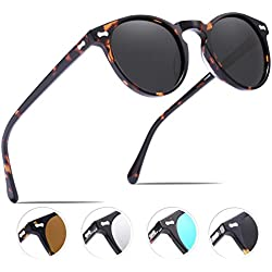 Carfia Retro Gafas de sol Hombre Polarizadas UV400 Protección para Conducir Pesca al Aire Libre Marco de Acetato