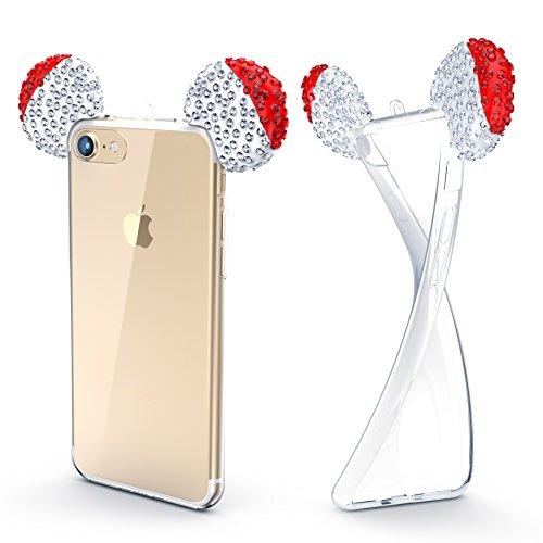 Urcover® Apple iPhone 7 Maus Ohren Handy Schutz-Hülle | TPU / Silikonhülle Bling Ear Cover Hell Blau Silber | Crystal Case | Bär Glitzer Girl Diamant Strass Schale Rot Silber
