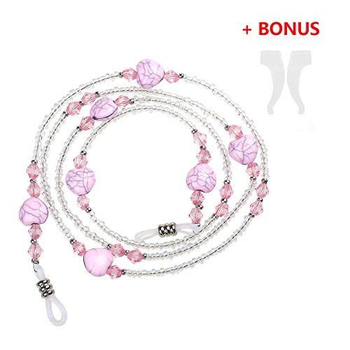 (Xidan FM8 Frauen Herz-Stil Brillen Perlenkette Halter Glassgurt Perlenkette)