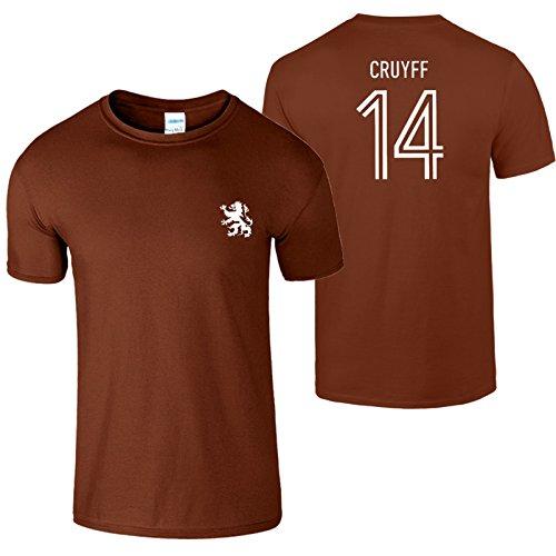 Johan Cruyff 14 Herren T-Shirt 70s Legende Holland Fußball Kastanie / Weiß Design