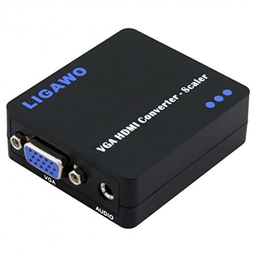 Ligawo - Converter VGA a HDMI attivo con scala a 720 / 1080p - con jack audio - Contenitore di