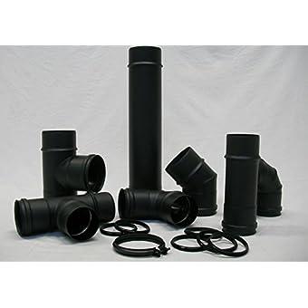 Comptes–Cheminée en acier noir d. 80Céramique SP. 1,2pour cuisinières à pellet–Tube courbe accessoires–-rosace