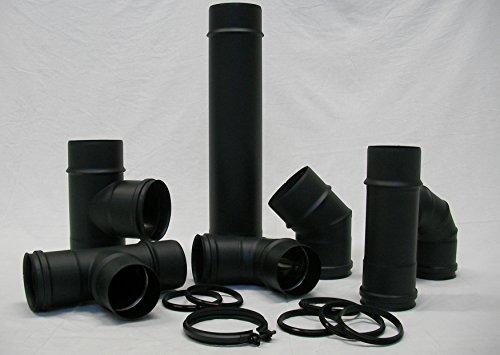 Konten-Senotherm schwarz matt d. 100Steingut SP. 1,2Für Pelletöfen-Gebogenes Rohr Zubehör--Spitze Auspuff Kondensation (Auspuff Pelletofen)