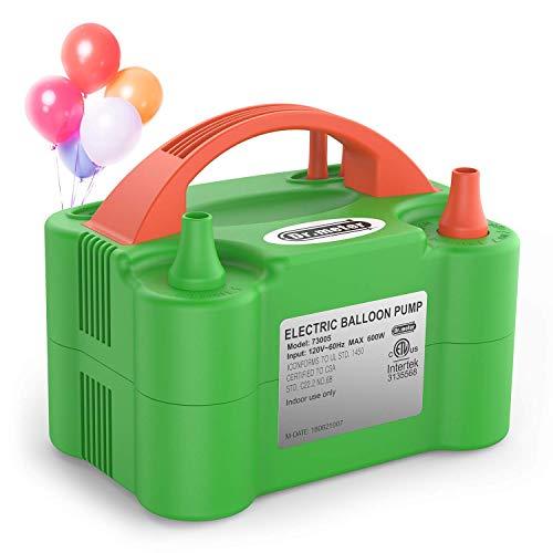 pumpe, Elektrische Luftballonpumpe mit Doppeldüse Inflatorgebläse Tragbare Pumpe für Party, Hochzeit, Geburtstag, Werbemaßnahmen und Festivaldekoration ()