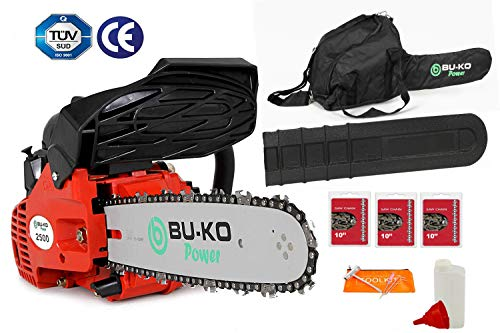 "BU-KO 26 cc Lightweight 3.5kg - Top Handled Petrol Chainsaw | 3 Chains and 10"" Bar Included 