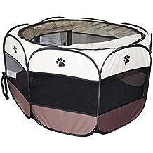 Parque Mascota Perrera Dormitorio Perro Gato Octágono Durable Plegable Bien Ventilado 114 x114 x58 CM Marrón