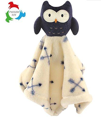 Sun Glower Handpuppe Tröster Spielzeug Baumwolle Handtuch Weichen Handtuch Kurze Plüsch Owl_Black + Beige (Beige Tröster)