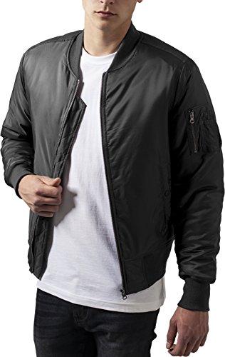Urban Classics TB861 Herren Jacke - Basic Bomber Jacket, Bomberjacke mit aufgesetzter Tasche und Zipper am Arm, Grau (cool grey 794), Gr....
