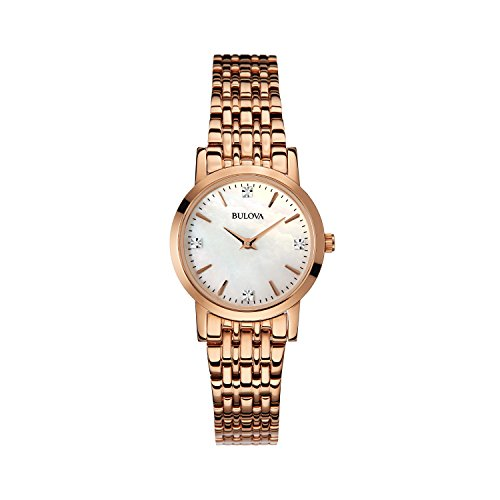 Bulova Ladies Women's Designer Diamond Watch Bracelet - Rose Gold Mother Of Pearl Dial Wrist Watch 97S106