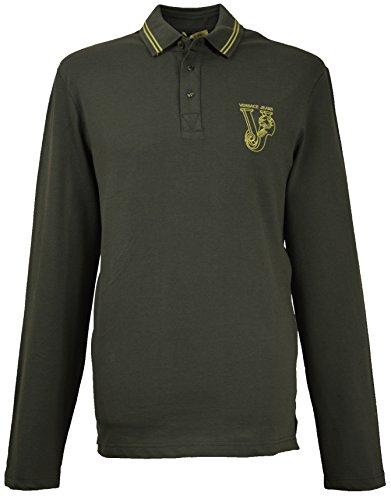 Versace Jeans Herren Big Logo Lange Ärmel Polo Shirt b3gib720grün Gr. Large, grün