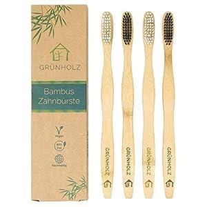 Premium Bambus Zahnbürste von Grünholz im 4er-Set – Hochwertige Holzzahnbürste – Vegan, BPA-frei und umweltfreundlich