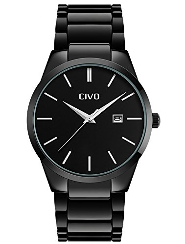 b2912dd770 CIVO Mens Watches Luxury Black Stainless Steel Band Date Calendar ...