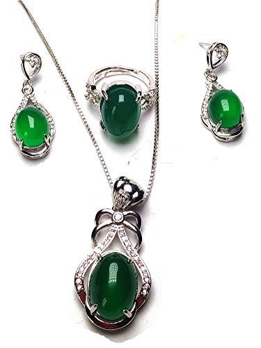 1c048e467d07 Natural verde Jade anillo de plata 925 colgante pendientes invierno joyería  Set Mujeres