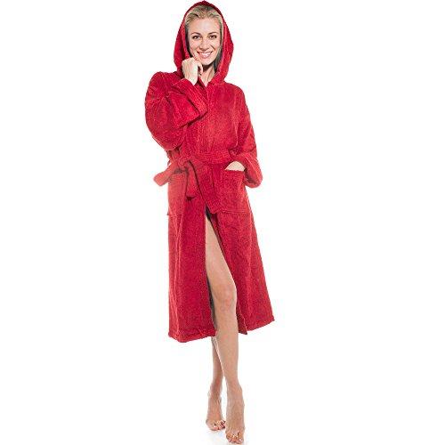 aqua-textil Frottee Bademantel mit Kapuze aus 100% Baumwolle, für Damen u. Herren, Morgenmantel Föhr 1000348 rot M